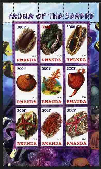 Rwanda 2010 Fauna of the Sea Bed perf sheetlet containing 9 values unmounted mint