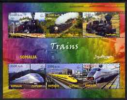 Somalia 2004 Trains perf sheetlet containing 6 values unmounted mint