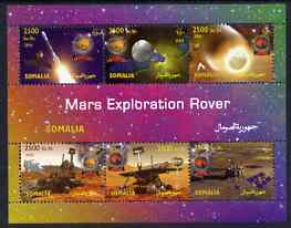 Somalia 2004 Mars Exploration Rover perf sheetlet containing 6 values unmounted mint