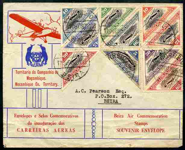 Mozambique Company 1935 illustrated Commemorative cover to Beira bearing complete set of 10 triangulars neatly cancelled