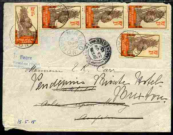 Gabon 1915 Re-directed cover bearing 5 x 1c Warrior stamp, cover opened out for display and part of flap missing