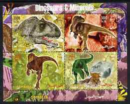 Somalia 2004 Dinosaurs & Minerals perf sheetlet containing 4 values unmounted mint