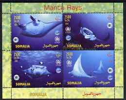 Somalia 2004 Manta Rays perf sheetlet containing 4 values unmounted mint