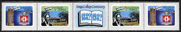 Tonga 1982 College Centenary 29s self-adhesive se-tenant strip of 4 opt'd SPECIMEN unmounted mint, as SG 827-30