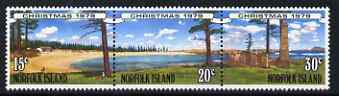 Norfolk Island 1979 Christmas se-tenant strip of three forming a composite design of island scenes unmounted mint, SG 230-32