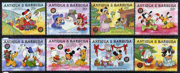 Antigua 1986 Christmas set of 8 with Disney cartoon characters as babies, unmounted mint SG 1061-68