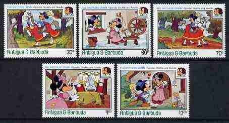 Antigua 1985 Birth Bicent of Grimm Brothers set of 5 showing Disney cartoon characters in scenes from