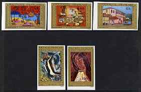 French Polynesia 1975 Air - Paintings by Polynesian Artists (6th series) IMPERF set of 5 unmounted mint, SG 205-09