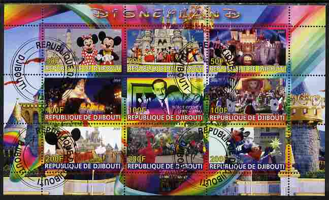 Djibouti 2010 Disneyland perf sheetlet containing 9 values fine cto used