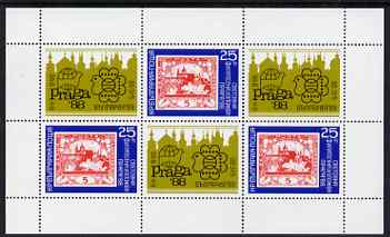 Bulgaria 1989 'Praga'88'  perf sheetlet of 3 plus 3 labels issued for Bulgaria '89 Stamp Exhibition unmounted mint, Mi BL 185
