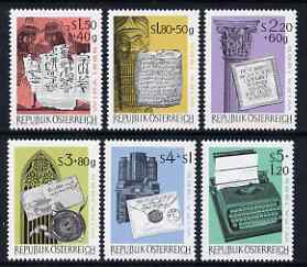 Austria 1965 'WIPA' Stamp Exhibition (2nd Series) Development of the Letter set of 6 unmounted mint, SG 1447-52