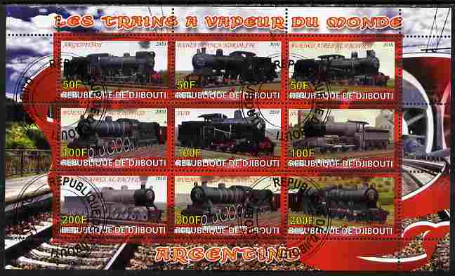 Djibouti 2010 Steam Locos of the World - Argentina perf sheetlet containing 9 values fine cto used
