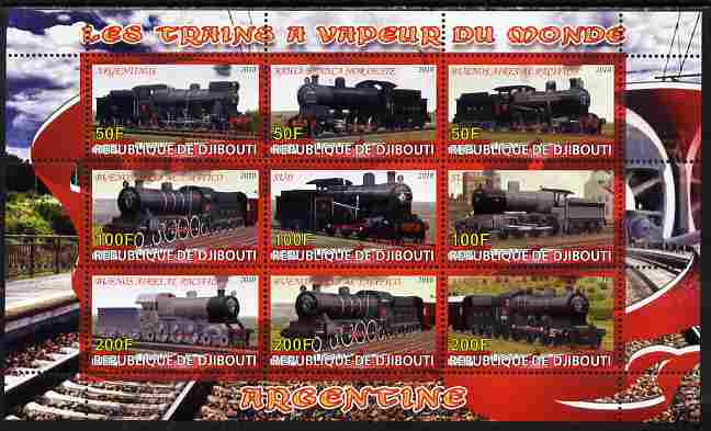 Djibouti 2010 Steam Locos of the World - Argentina perf sheetlet containing 9 values unmounted mint