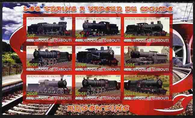 Djibouti 2010 Steam Locos of the World - Argentina imperf sheetlet containing 9 values unmounted mint