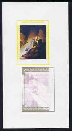 Oman 1972 Painting by Rembrandt - Jeremiah Lamenting the Destruction of Jerusalem 6b imperf working proof sheetlet in three colours only (no black) unmounted mint