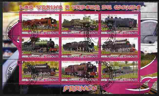 Djibouti 2010 Steam Locos of the World - France perf sheetlet containing 9 values fine cto used