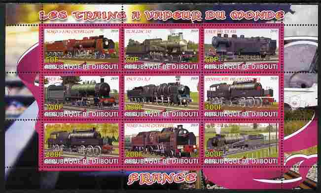 Djibouti 2010 Steam Locos of the World - France perf sheetlet containing 9 values unmounted mint