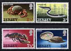 Jersey 1973 Marine Life set of 4 unmounted mint, SG 99-102, stamps on marine life, stamps on shells, stamps on crabs, stamps on lobster, stamps on eels