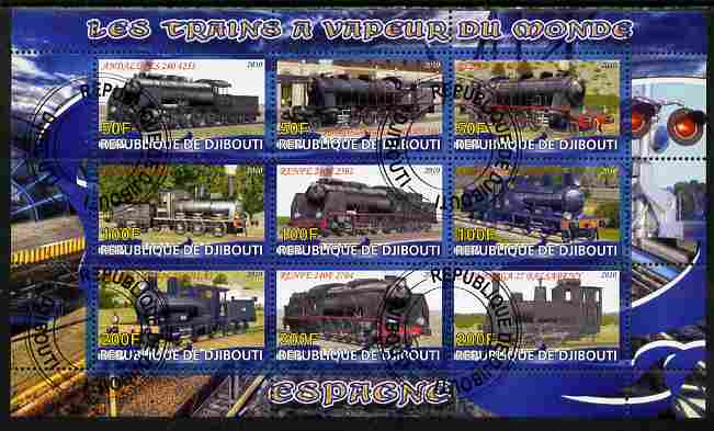Djibouti 2010 Steam Locos of the World - Spain perf sheetlet containing 9 values fine cto used