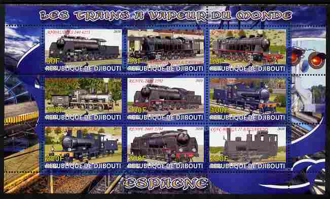 Djibouti 2010 Steam Locos of the World - Spain perf sheetlet containing 9 values unmounted mint