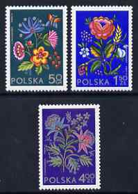 Poland 1974 Socphilex IV Int Stamp Exhibition set of 3 Regional Floral Embroideries unmounted mint, SG 2294-96, stamps on flowers, stamps on textiles, stamps on stamp exhibitions