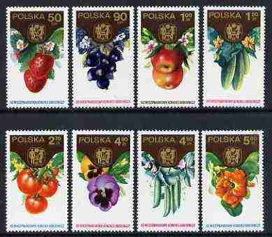 Poland 1974 19th International Horticultural Congress set of 8 fruits, vegetables & flowers unmounted mint, SG 2316-23, stamps on fruit, stamps on strawberries, stamps on apples, stamps on flowers, stamps on pansies