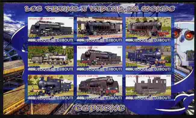Djibouti 2010 Steam Locos of the World - Spain imperf sheetlet containing 9 values unmounted mint, stamps on , stamps on  stamps on railways