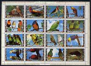 Umm Al Qiwain 1972 Exotic Birds #1 sheetlet containing 16 values unmounted mint (Mi 1242-57A)
