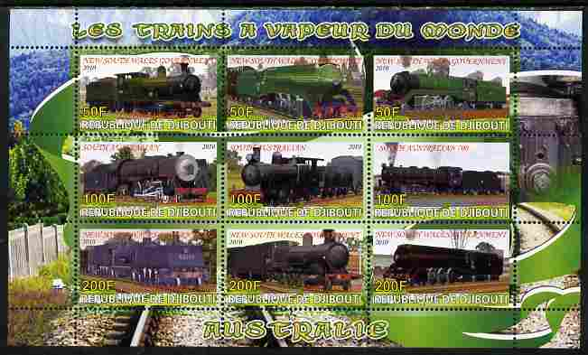 Djibouti 2010 Steam Locos of the World - Australia perf sheetlet containing 9 values unmounted mint