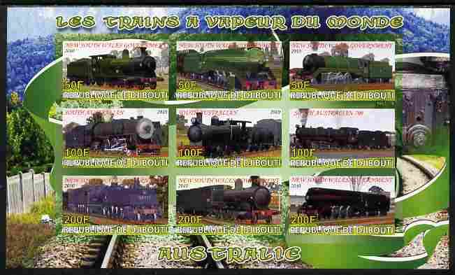Djibouti 2010 Steam Locos of the World - Australia imperf sheetlet containing 9 values unmounted mint
