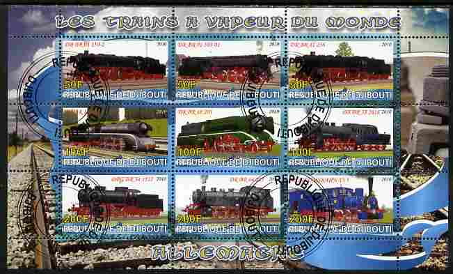 Djibouti 2010 Steam Locos of the World - Germany perf sheetlet containing 9 values fine cto used