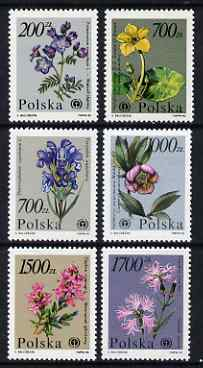 Poland 1990 Flowers set of 6 unmounted mint, SG 3308-13