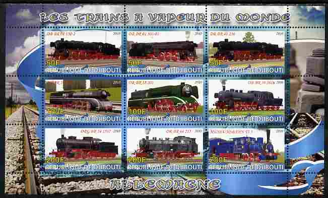 Djibouti 2010 Steam Locos of the World - Germany perf sheetlet containing 9 values unmounted mint