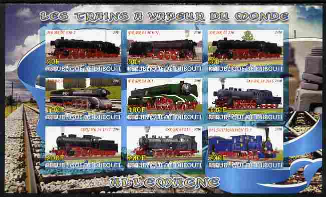 Djibouti 2010 Steam Locos of the World - Germany imperf sheetlet containing 9 values unmounted mint