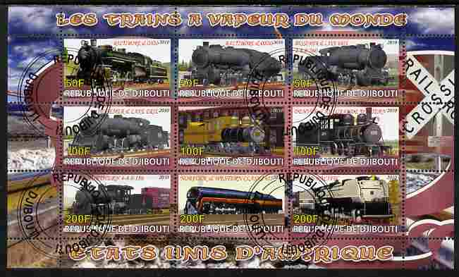 Djibouti 2010 Steam Locos of the World - USA perf sheetlet containing 9 values fine cto used