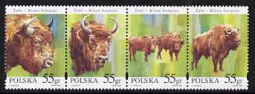 Poland 1996 The European Bison strip of 4 unmounted mint, SG 3656-59