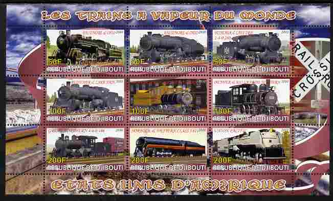 Djibouti 2010 Steam Locos of the World - USA perf sheetlet containing 9 values unmounted mint