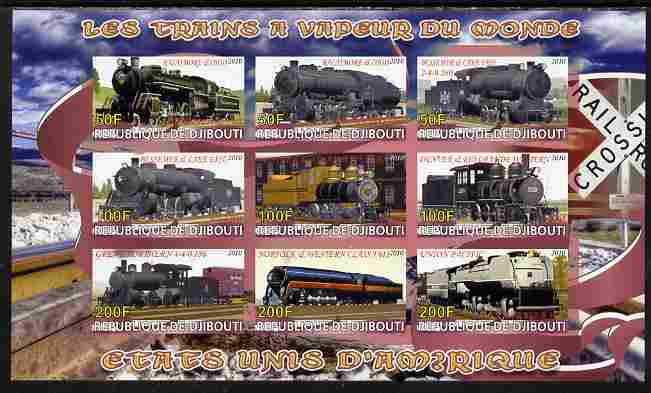 Djibouti 2010 Steam Locos of the World - USA imperf sheetlet containing 9 values unmounted mint