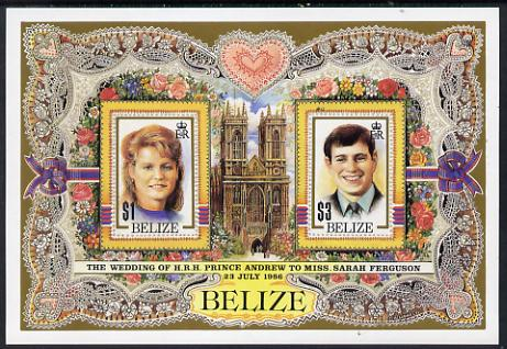 Belize 1986 Royal Wedding imperf m/sheet unmounted mint, SG MS 944. Please note: This m/sheet is from the original and genuine Format International printings and one of only 60 known copies. It is NOT one of the wishy-washy reprint/forgeries that are flooding the market.
