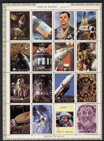 Umm Al Qiwain 1972 History of Space #1 sheetlet containing 16 values unmounted mint (Mi 1066-81A)