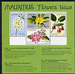 Mauritius 1977 Indigenous Flowers m/sheet of 4 unmounted mint, SG MS 523