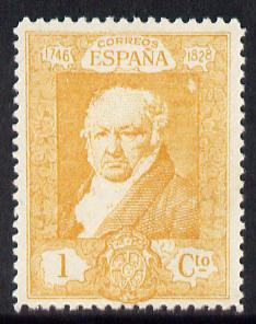 Spain 1930 Francisco Goya 1c orange-yellow unmounted mint SG 553