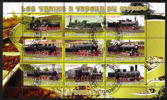 Djibouti 2010 Steam Locos of the World - Italy perf sheetlet containing 9 values fine cto used