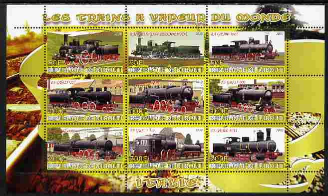 Djibouti 2010 Steam Locos of the World - Italy perf sheetlet containing 9 values unmounted mint