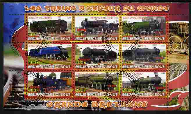 Djibouti 2010 Steam Locos of the World - Great Britain perf sheetlet containing 9 values fine cto used