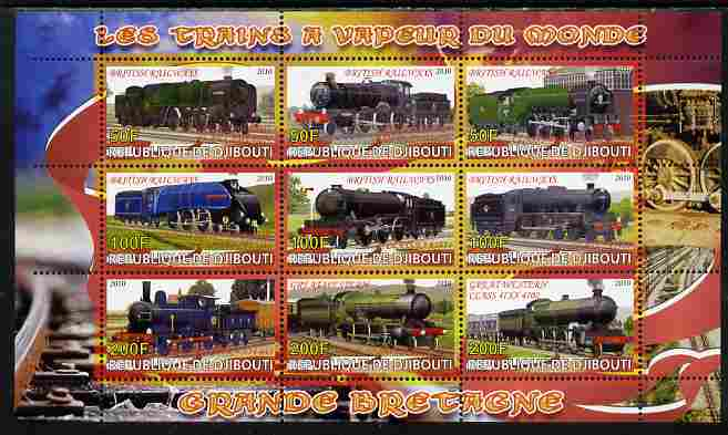 Djibouti 2010 Steam Locos of the World - Great Britain perf sheetlet containing 9 values unmounted mint
