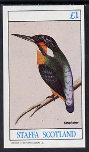 Staffa 1982 Birds #09 (Kingfisher) imperf souvenir sheet (�1 value)  unmounted mint
