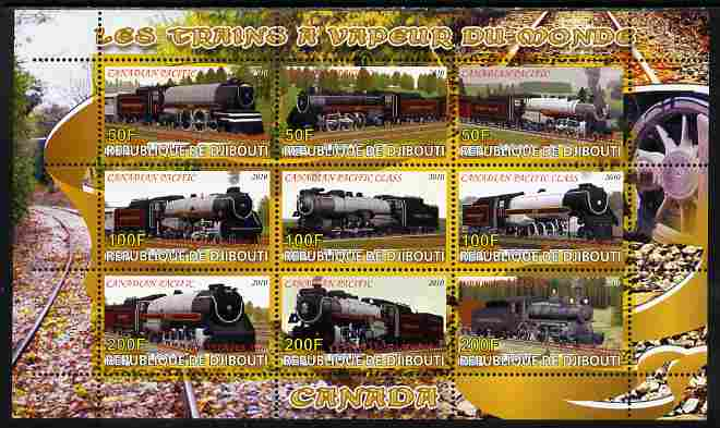Djibouti 2010 Steam Locos of the World - Canada perf sheetlet containing 9 values unmounted mint