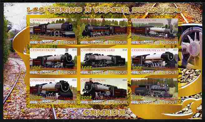 Djibouti 2010 Steam Locos of the World - Canada imperf sheetlet containing 9 values unmounted mint