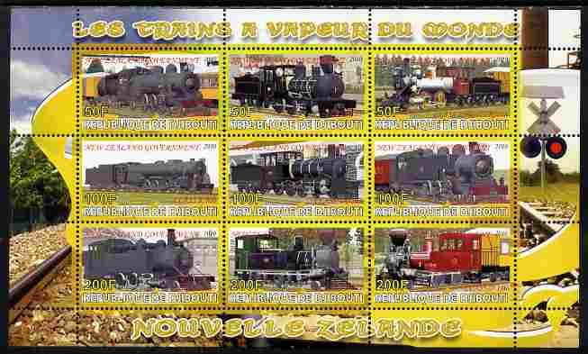 Djibouti 2010 Steam Locos of the World - New Zealand perf sheetlet containing 9 values unmounted mint